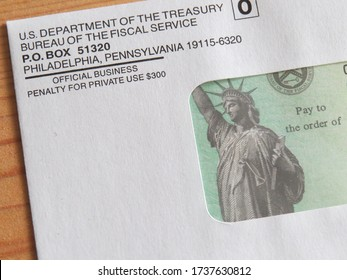Ann Arbor, MI - May 20, 2020: Stimulus check in the mailing envelope