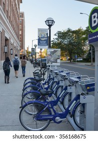 ANN ARBOR, MI - OCTOBER 10: ArborBike rental stations, such as the one shown here in Ann Arbor, MI on October 10, 2015, was inaugurated in September 2014.