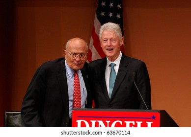 """ANN ARBOR, MI - OCTOBER 24: Former President Bill Clinton and Congressman John Dingell of Michigan at a """"get out the vote"""" rally on October 24, 2010 in Ann Arbor, MI"""