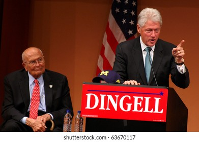 "ANN ARBOR, MI - OCTOBER 24: Former President Bill Clinton speaks in support of Congressman John Dingell of Michigan at a ""get out the vote"" rally on October 24, 2010 in Ann Arbor, MI"