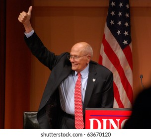 "ANN ARBOR, MI - OCTOBER 24: Congressman John Dingell of Michigan gives a thumbs up sign at a ""get out the vote"" rally on October 24, 2010 in Ann Arbor, MI"