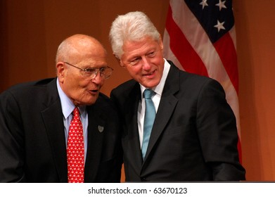 "ANN ARBOR, MI - OCTOBER 24: Former President Bill Clinton poses with Congressman John Dingell of Michigan after speaking at a ""get out the vote"" rally on October 24, 2010 in Ann Arbor, MI"