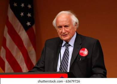 "ANN ARBOR, MI - OCTOBER 24: Congressman Sander Levin speaks in support of Congressman John Dingell of Michigan at a ""get out the vote"" rally on October 24, 2010 in Ann Arbor, MI"
