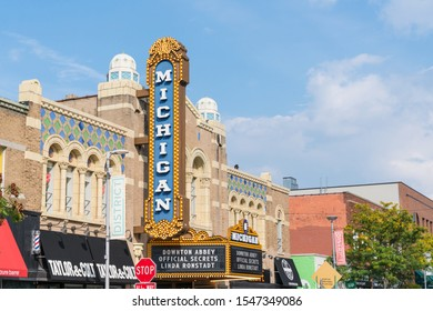 Ann Arbor, MI - September 21, 2019: Historic Michigan Theater, built in 1928, located on East Liberty St in Downtown, Ann Arbor