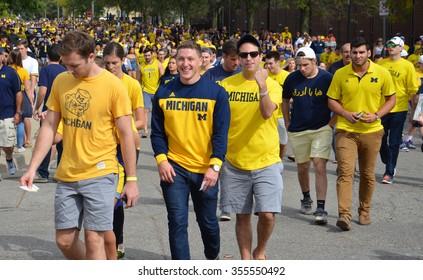 ANN ARBOR, MI - SEPTEMBER 26: University of Michigan football fans enter the stadium before the BYU game on September 26, 2015. Michigan lost the game 0-31.