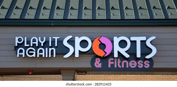 ANN ARBOR, MI - SEPTEMBER 7:  Play It Again Sports, whose west Ann Arbor, MI store logo is shown on September 7, 2014, has over 400 stores.