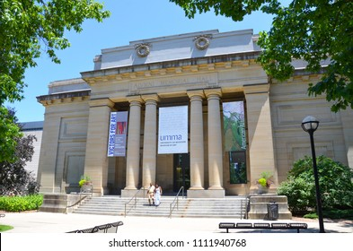 ANN ARBOR, MI / USA - JULY 2 2017: The University of Michigan, whose Museum of Art is shown here, celebrated its 150th anniversary in 2017.