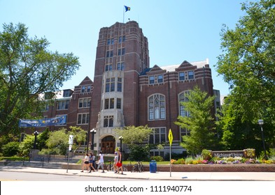 ANN ARBOR, MI / USA - JULY 2 2017: The University of Michigan, whose student union is shown here, celebrated its 150th anniversary in 2017.