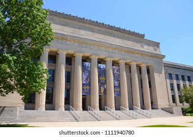 ANN ARBOR, MI / USA - JULY 2 2017: The University of Michigan, whose Angell Hall is shown here, celebrated its 150th anniversary in 2017.