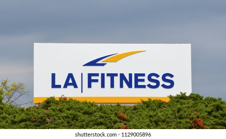 ANN ARBOR, MI / USA - JULY 16, 2017:  LA Fitness, whose Ann Arbor store logo is shown here, has over 700 stores in the United States and Canada.