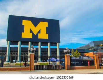 ANN ARBOR, MI, USA - October 2, 2017. Michigan Stadium. City landscape with a sign in the autumn day.