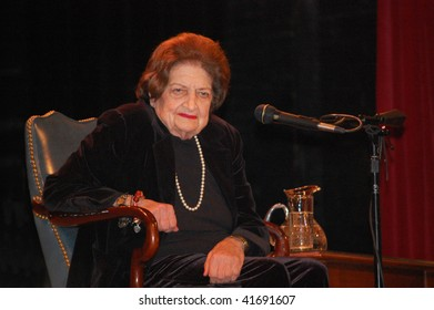 """ANN ARBOR, MICHIGAN - NOVEMBER 23: Journalist Helen Thomas listens to a question during her  visit to promote her book """"Listen Up, Mr. President"""" on November 23, 2009 in Ann Arbor, Michigan."""