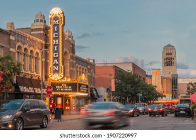 Ann Arbor, Michigan, USA 2020 - Michigan Theater on State Street downtown during sunset with cars