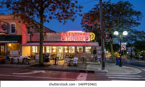 Ann Arbor, Michigan / USA - August 4, 2019: Image of iconic 24 hour Fleetwood Diner.  Opened in 1949 as the Dagwood Diner - Ann Arbor's first sidewalk cafe.  Renamed to Fleetwood in 1971.