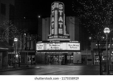 Ann Arbor, Michigan / USA - December 31, 2010: Black and White image of State Theater looking east down Liberty Street