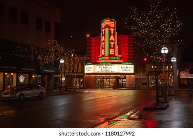 Ann Arbor, Michigan / USA - December 31, 2010: Night view of State Theater looking east on Liberty Street from near Maynard Street.
