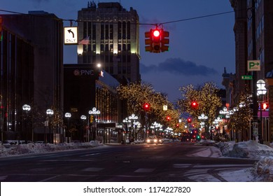 Ann Arbor, Michigan / USA - February 12, 2011:  View of Main Street taken looking south from the corner of Ann and Main streets.