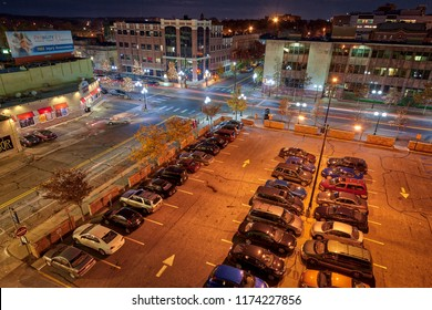 Ann Arbor, Michigan / USA - October 22, 2012: View of Main Street in Ann Arbor Michigan taken from the top of the parking structure at Catherine and Ann streets.