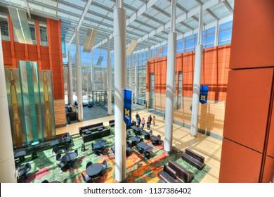 Ann Arbor, Michigan/USA - April 2018: Beautiful and bright interior of University of Michigan Ross Business School.