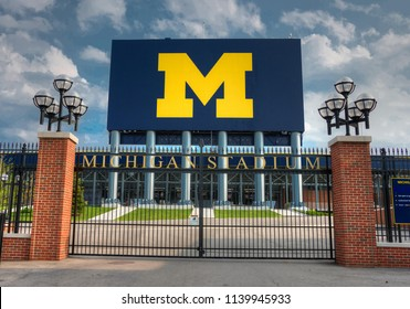 Ann Arbor, Michigan/USA - July 2012 - University of Michigan football stadium scoreboard, the largest in the nation.