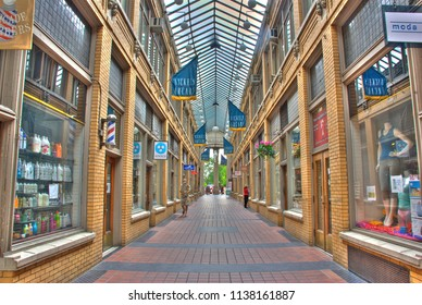 Ann Arbor, Michigan/USA - May 2009: Nickels Arcade, a historic skylight-covered mini mall in Ann Arbor, next to the University of Michigan campus.