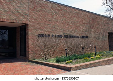 Ann Arbor, MI/USA: April 16, 2019 – Sign on Gerald R. Ford Presidential Library building on campus of his alma mater University of Michigan. His museum is in Grand Rapids, his Congressional district.