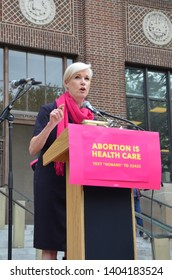 ANN ARBOR, MI/USA - MAY 21, 2019: Cecile Richards, co-founder of political action group Supermajority addresses the Ann Arbor Stop the Bans protest organized by Planned Parenthood.