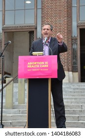 ANN ARBOR, MI/USA - MAY 21, 2019: State Senator Jeff Irwin addresses the Ann Arbor Stop the Bans protest organized by Planned Parenthood.