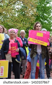 ANN ARBOR, MI/USA - MAY 21, 2019: Protesters listen during the Ann Arbor Stop the Bans protest organized by Planned Parenthood.