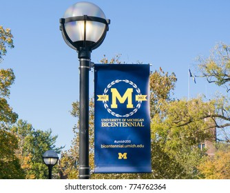 ANN ARBOR, MI/USA - OCTOBER 20, 2017: University of Michigan banner and logo on the campuus of the University of Michigan.