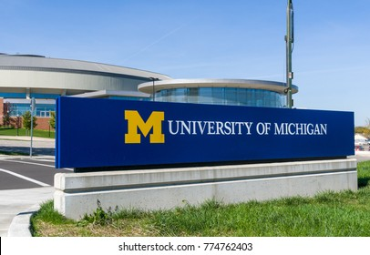 ANN ARBOR, MI/USA - OCTOBER 20, 2017: Entrance sign to the campus of the University of Michigan.
