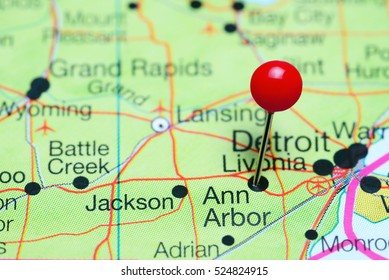 Ann Arbor pinned on a map of Michigan, USA
