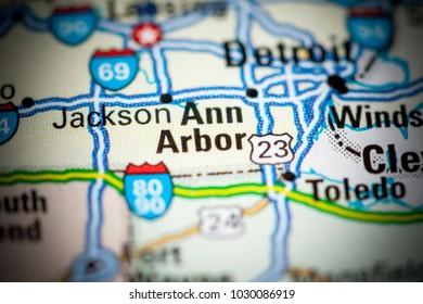 Ann Arbor. USA on a map.