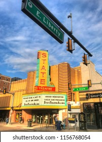 Ann Arbor/Michigan -May 2017: State  theatre. Its distinctive green, yellow and red marquee makes it an icon of Ann Arbor downtown.