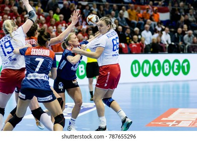 Anna Kochetova in attack for Russia during women handball game between Norway and Russia final score : 34 - 17 at IHF World Championship, Germany 2017 - Quarter Finals, Magdeburg on 13.12.2017
