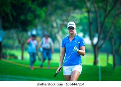 Anna Nordqvist of Eskilstuna, Sweden during golf compettion in Honda LPGA Thailand 2018, February 22,2018  Siam Country Club Pattaya Old Course, Chonburi ,Thailand.