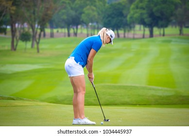 Anna Nordqvist of Eskilstuna, Sweden golf compettion in Honda LPGA Thailand 2018, February 22,2018, Siam Country Club Pattaya Old Course, Chonburi ,Thailand.