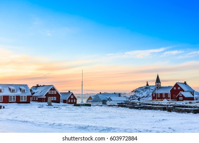 Annaassisitta Oqaluffia, church of our Savior in sunset lights, Historical center of Nuuk city, Greenland