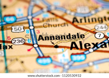 Annandale Virginia Usa On Map Stock Photo Edit Now 1120530932