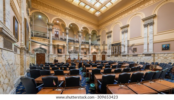 ANNAPOLIS, MARYLAND - JULY 17: House of Delegates Chamber in the Maryland State House on State Circle on July 17, 2015 in Annapolis, Maryland