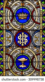 ANNAPOLIS, MARYLAND - JULY 17: Stained glass window in St. Anne's Episcopal Church on Duke of Gloucester Street on July 17, 2015 in Annapolis, Maryland