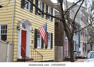 Annapolis, Maryland, USA - March 30, 2019: streets of historic downtown Annapolis, the state capital of Maryland