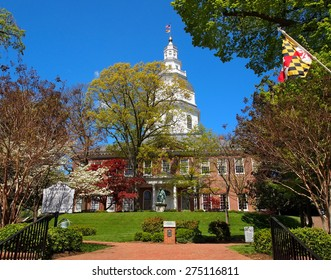 ANNAPOLIS, MD - APRIL 29, 2015: The Maryland State House, in Annapolis, MD, the capitol of the state of Maryland, on a spring day.