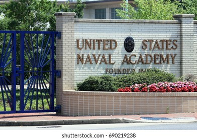 ANNAPOLIS, MD - JULY 19: An entrance to the United States Naval Academy in Annapolis, Maryland on July 19, 2017. The United States Naval Academy is a four-year coeducational federal service academy.