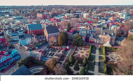 Annapolis, MD - March 10, 2018: An aerial drone view of the William Paca House and gardens in historic downtown.