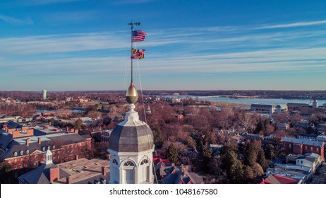 Annapolis, MD - March 10, 2018: An aerial drone view of historic downtown Annapolis and the Maryland State House.