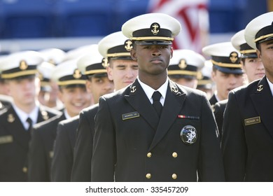 ANNAPOLIS, MD - OCTOBER 31: The Brigade of Midshipmen march into the stadium prior to the AAC football game October 31, 2015 in Annapolis, MD.