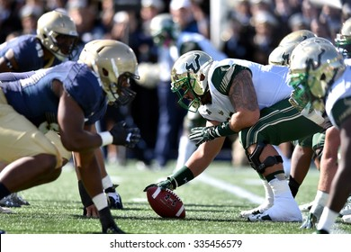 ANNAPOLIS, MD - OCTOBER 31: South Florida Bulls offensive lineman Brynjar Gudmundsson (66) lines up over the ball during the AAC game October 31, 2015 in Annapolis, MD.