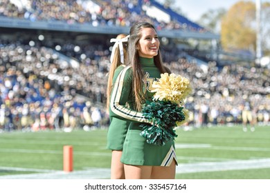 ANNAPOLIS, MD - OCTOBER 31: A University of South Florida cheerleader performs during the AAC football game October 31, 2015 in Annapolis, MD.