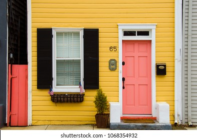 Annapolis, MD / USA - February 2018: Colorful wooden houses in the Annapolis historic district